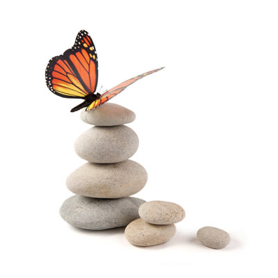 Butterfly balanced on stone tower