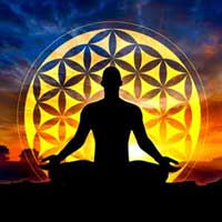 Mindfulness as a man practices in the lotus position